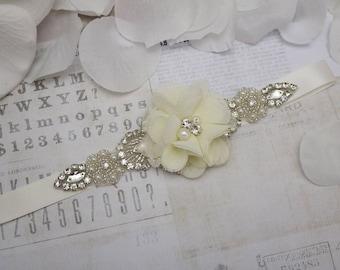 Ivory flower girl belt, ivory flower sash, wedding belt, belt sash, bridesmaid belt, wedding sash, crystal rhinestone belt, dress belt