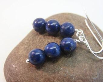 Lapis lazuli earrings - sterling silver earrings - blue gemstone earrings - lapis bead stack earrings - blue earrings