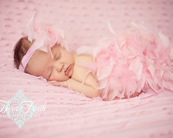 Pink Valentine Feather Diaper Cover & Headband, The ORIGINAL Pink Feather Bloomer, Pink Feather Tutu Newborn Girl Photo Outfit 1st Valentine
