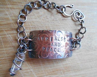 Quartz Point Happiness Peace Law of Attraction Bracelet Stamped Intention Embossed Copper Sheet Oxidized Wire Wrapped Jewelry Handmade Boho