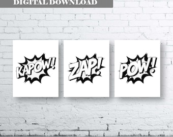 Superhero Quote Art. Set of Three (3)-Instant Download. Kapow Zap Pow. Superhero Bedroom Art. Superhero action words. Monochrome Superhero