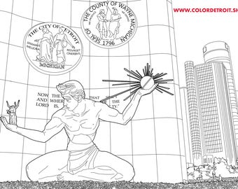 COLORDETROIT Spirit of Detroit Coloring Page