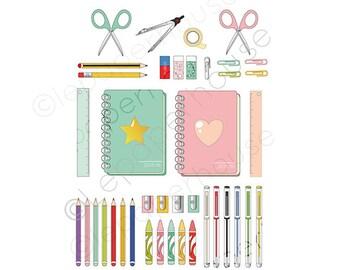Cute School theme clipart, digital scrapbooking elements - 40 Back to School Clip art, Instant Download