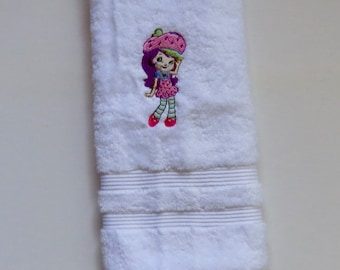 solid white embroidery kitchen towel with strawberry shortcake design - Bakers Gonna Bake Kitchen Redwork Embroidery Designs