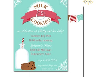 Milk and Cookies Baby Shower Invitation, Gender Reveal Party, Printable, Customized