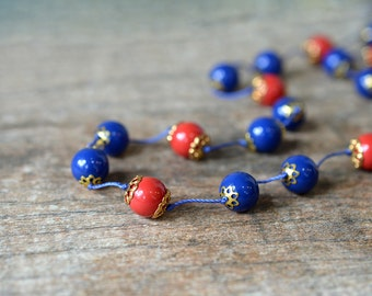 Red and blue hand knotted necklace Long beaded knotted silk necklace Tailored office jewelry for the career woman Business casual