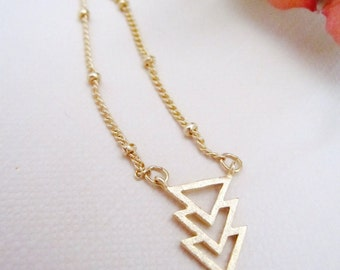 Gold Chevron Necklace, Triangle charm, Satellite Ball Chain, Three Triangle Necklace, Geometric Jewelry, Modern Necklace, Redpeonycreations