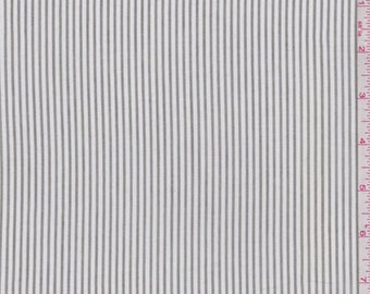 White/Dusty Olive Stripe Lawn, Fabric By The Yard