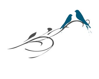Bird w/ Branch SVG Design Cutting File also includes PNG - for Cricut Design Space and Silhouette Studio - Commercial use