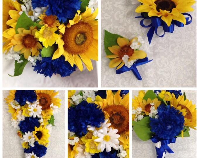 Artificial Horizon Blue Sunflower Wedding Bouquet Set, Sunflower Country Wedding Flowers