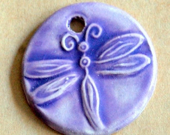 Lavender Dragonfly Ceramic Bead - Pendant Bead with Extra Large Hole