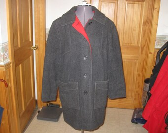 ladies Vtg Penquin by Liman Wool Parka Charcoal with Red lining lg button front 2 cargo pockets free ship  warm vtg Med