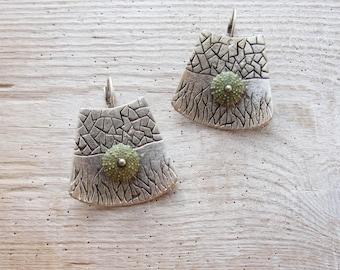 Green Sea Urchin Earrings Special Texture