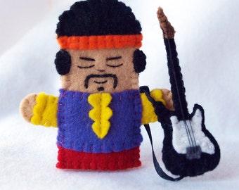 Guitar player felt finger puppet, Guitarist finger puppet, singer felt puppet, songwriter felt puppet, finger puppet, electric guitar player