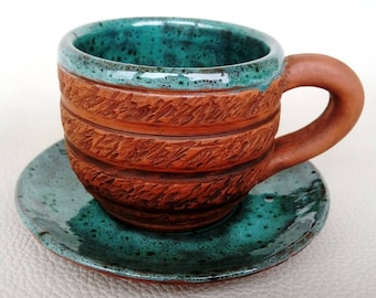 Cup with saucer Pottery cup Coffee cup Green cup Half cup Espresso cup Tea cup Everyday cup Gift for kitchen Home gift Handmade cup
