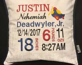 Custom Birth Announcement Pillow – Embroidered with Airplane and baby's birth information.