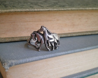 Sterling Silver Wild Horse Ring - Vintage Horses Unisex Ring Found by So Very Charming - Lucky Horse / Wild Mustang / Equestrian Animal Ring