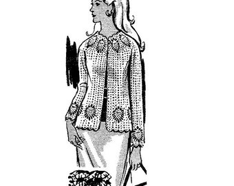 CROCHET PATTERN 7046 Vintage Crochet Pattern Jacket w Pineapple shell 1960s  PDF instant download