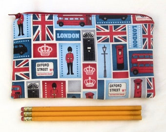 London Fabric Zipper Pouch / Pencil Case / Make Up Bag