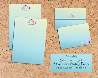Unicorn Printable Writing paper Writing set Scrapbooking paper and envelope Stationery Set Printable note paper Digital download