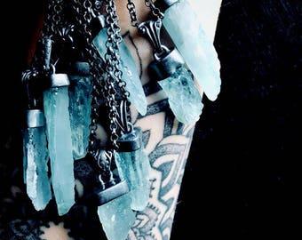 Aquamarine necklace | Raw aquamarine crystal pendant | Raw crystal pendant