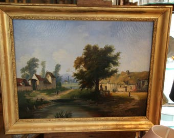 French antique oil painting on canvas, 19th century oil painting on canvas, Landscape oil painting on canvas, Antique oil painting on canvas