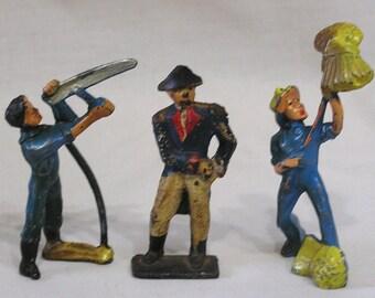 Three Vintage Manoil Metal Figures Farmer with Scythe, Farmer with Wheat Sheaves and George Washington Figure