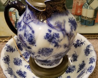 "Antique Blue Porcelain Lamp Repurposed 1890's Flow Blue Wash Bowl and Pitcher Set ""Dresden"" Humphreys Bros. England"