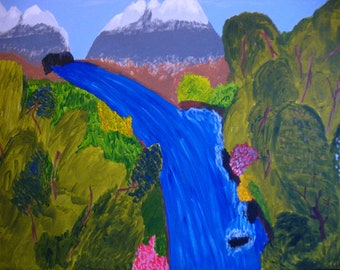 Blue river - Original Acrylic on Canvas (size A2)