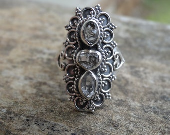 Sterling Silver Natural Herkimer Diamond 925 Ring Size 8 - double-terminated quartz crystal ring - Natural Stone Ring size 8 - Diamond