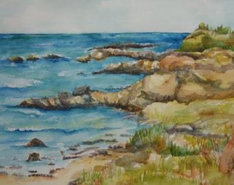 Original Aruba watercolor painting,  Seascape painting, 11 x 15, Caribbean ocean art, beach watercolor, painting of the sea off Aruba