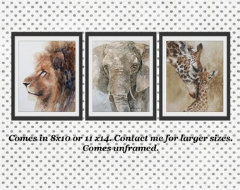 Safari Nursery Art Nursery Prints Baby Animal Prints Children Art Boys Room Wall Art Girls Room Watercolors Elephant Giraffe Lion 3 print dp