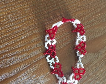 White with Red Hearts Bracelet