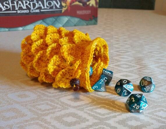 Dragon scale dice bag / treasure pouch / stash bag in deep yellow
