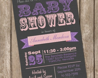 Girl Baby Shower Invitation Pink and Grey Purple printable invitation 20121202-K1-2