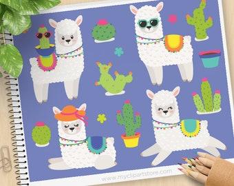 Llama and Cactus Clipart - Camels, Cute Alpacas, Desert Animals, Summer, Succulent, Flowers, Commercial use, Vector Clip Art, SVG Files