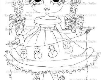INSTANT DOWNLOAD Digital Digi Stamps Big Eye Big Head Dolls Digi  IMG885 By Sherri Baldy