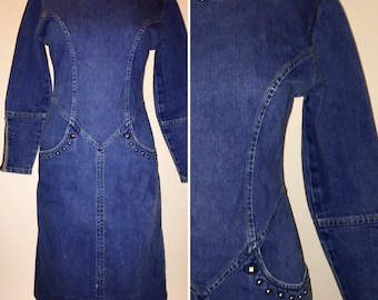 Vintage 1980s 80s Denim Jean Wiggle Form Fitting Dress with Studs Size Xsmall Small