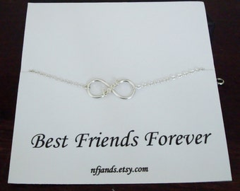 Love Infinity Charm Silver Bracelet ~~Personalized Jewelry Gift Card for Sister, Best Friend, Sister in Law, Bridal Party, Graduation