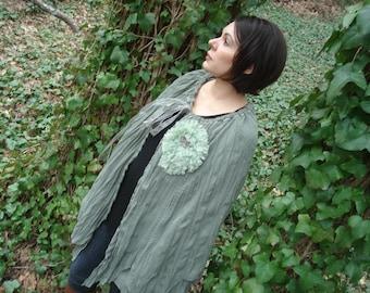 Soft green flowing  Bohemian cape