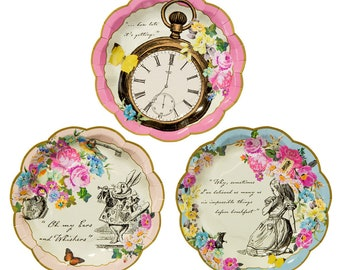 Truly Alice in Wonderland Paper Plates x 12 2 Designs Mad Hatters Party Wedding