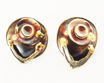 Brutalist Mixed Metals Brass Copper and Silver Earrings Posts
