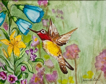 Humming Bird- Original Watercolor painting -8x10 matted