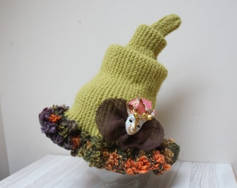Witch hat with Venetian mask brooch green boil felted wool larp cosplay sauna cap tribal knit crochet Halloween fairy gnome wizard Snufkin