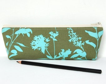 Toiletry Storage, Makeup Bag, Cosmetic Case, Pencil Pouch, Zipper Pouch, Wildflowers in Sage, Joel Dewberry Ginseng