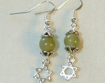 Star of David Earrings - Aventurine