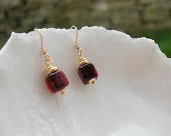 Dark Red Murano Glass Earrings,  6mm Earrings
