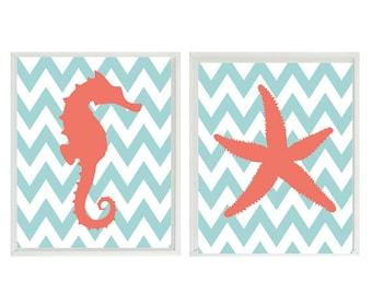 Seahorse Starfish Beach Nautical Sea Creature Chevron Art Print Duo- Nursery Children Room Aqua Coral - Wall Art Home Decor    Prints
