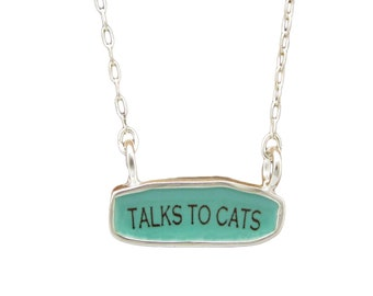Cat Person Necklace - Reversible Sterling Silver and Enamel Script Necklace