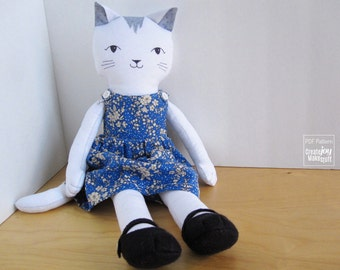 """For 18"""" Cat Doll - Pinafore Dress and Mary-jane Shoes Sewing Pattern"""
